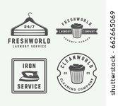 set of vintage laundry ... | Shutterstock .eps vector #662665069
