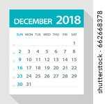 december 2018 calendar leaf  ... | Shutterstock .eps vector #662668378