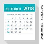 october 2018 calendar leaf  ... | Shutterstock .eps vector #662668549