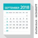 september 2018 calendar leaf  ... | Shutterstock .eps vector #662668699
