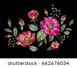 vector embroidery with flowers | Shutterstock .eps vector #662676034