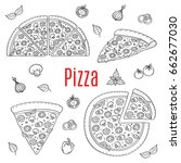 whole and slices pizza set ... | Shutterstock .eps vector #662677030