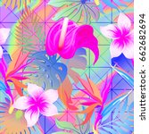 summer exotic floral tropical... | Shutterstock .eps vector #662682694