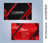 business card template. red and ... | Shutterstock .eps vector #662684860