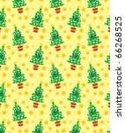 Smiling happy christmas tree seamless vector pattern. (Can be dragged to swatches palette in Adobe Illustrator and opened in Photoshop for seamless pattern fills.)