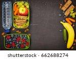 sandwich  apple  grape  carrot  ... | Shutterstock . vector #662688274