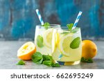 lemonade or mojito cocktail... | Shutterstock . vector #662695249