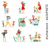 tired parents and their... | Shutterstock .eps vector #662695870