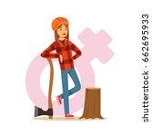 woman lumberjack in workwear... | Shutterstock .eps vector #662695933