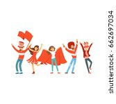 group of sport fans in red... | Shutterstock .eps vector #662697034