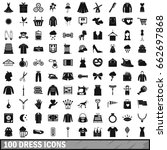 100 dress icons set in simple... | Shutterstock . vector #662697868