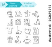 house cleaning thin line vector ...   Shutterstock .eps vector #662698996