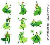 eco superhero characters set ... | Shutterstock .eps vector #662699440