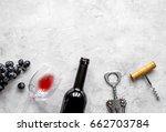 bottle of red wine with glass... | Shutterstock . vector #662703784