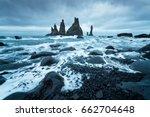 trolls fingers. reynisdrangar... | Shutterstock . vector #662704648