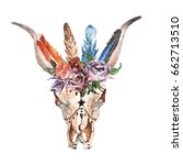 watercolor isolated bull's head ... | Shutterstock . vector #662713510