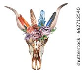 watercolor isolated bull's head ... | Shutterstock . vector #662713540