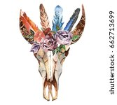 watercolor isolated bull's head ... | Shutterstock . vector #662713699