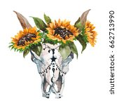 watercolor isolated bull's head ... | Shutterstock . vector #662713990