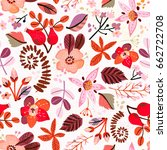 beautiful floral seamless... | Shutterstock .eps vector #662722708