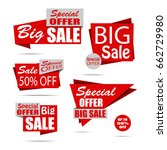 set of sale banners in flat... | Shutterstock .eps vector #662729980