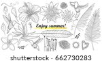 vector set with outline... | Shutterstock .eps vector #662730283