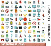 100 software icons set in flat... | Shutterstock . vector #662735344