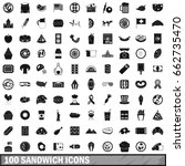 100 sandwich icons set in... | Shutterstock . vector #662735470