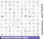 100 quality control icons set... | Shutterstock . vector #662735479