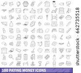 100 paying money icons set in... | Shutterstock . vector #662735518