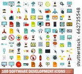 100 software development icons... | Shutterstock . vector #662735548