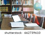laptop with blank screen and... | Shutterstock . vector #662739610