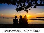 silhouette of three friends in... | Shutterstock . vector #662743300