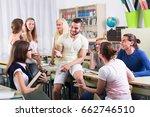 friendly international students ... | Shutterstock . vector #662746510