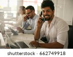 people in operations center ... | Shutterstock . vector #662749918