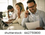 people in operations center ... | Shutterstock . vector #662750800