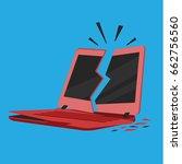 broken crashed red laptop... | Shutterstock .eps vector #662756560