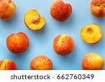peaches pattern. top view of... | Shutterstock . vector #662760349