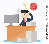 businessman work over time in... | Shutterstock .eps vector #662763154