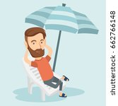 caucasian hipster man with... | Shutterstock .eps vector #662766148