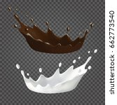 milk and chocolate splashes and ...