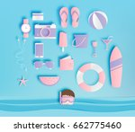 beach things paper art style... | Shutterstock .eps vector #662775460