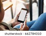 female using phone show white... | Shutterstock . vector #662784310
