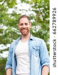 casual guy with a denim shirt... | Shutterstock . vector #662789926