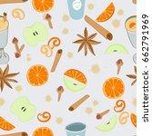 mulled wine seamless pattern.... | Shutterstock .eps vector #662791969