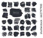 set of black ink brush strokes... | Shutterstock .eps vector #662797900