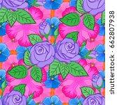 seamless hand drawn vector rose ... | Shutterstock .eps vector #662807938