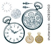 Stock vector vector ink hand drawn set of antique pocket watch with clock face and mechanism black and white 662810410