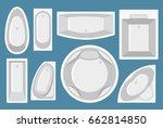 set of bathtubs in flat style.... | Shutterstock .eps vector #662814850
