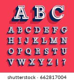 retro alphabet. vector... | Shutterstock .eps vector #662817004
